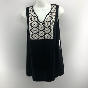 Kensie Black and White Sleeveless Top Small